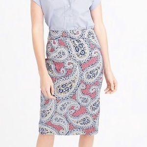 NWT J. CREW No. 2 Pencil Paisley Floral Skirt